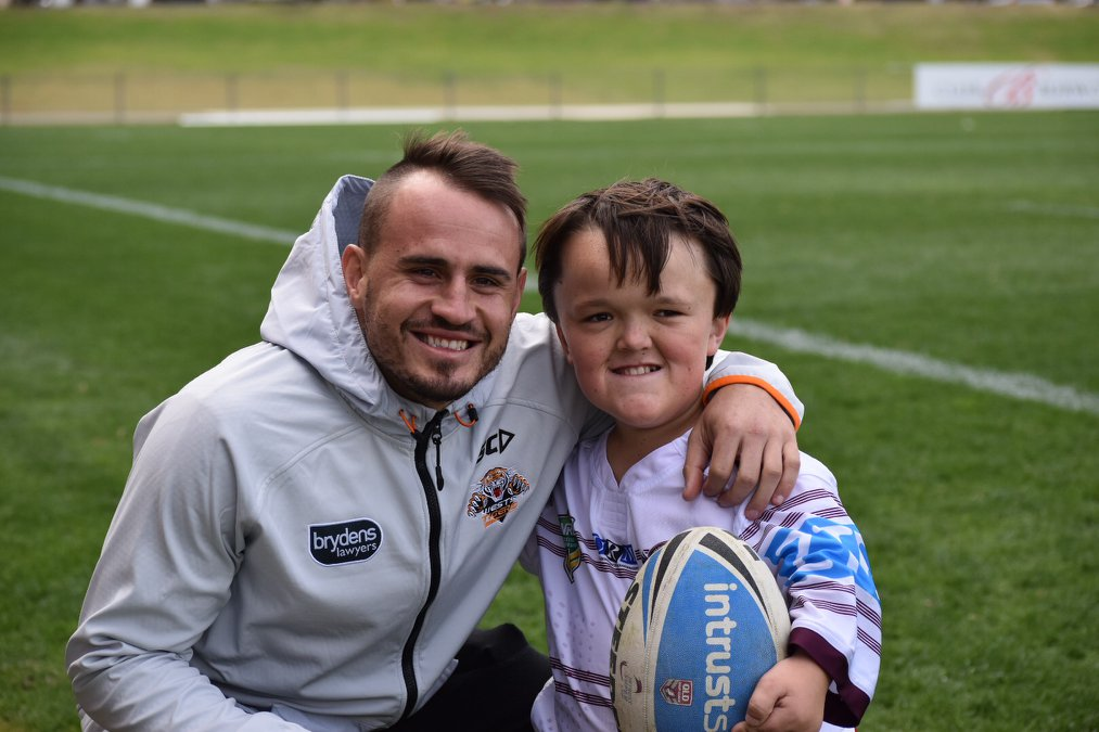 NSWPDRL training session at Concord Oval - photo opportunity with Wests Tigers player Josh Reynolds