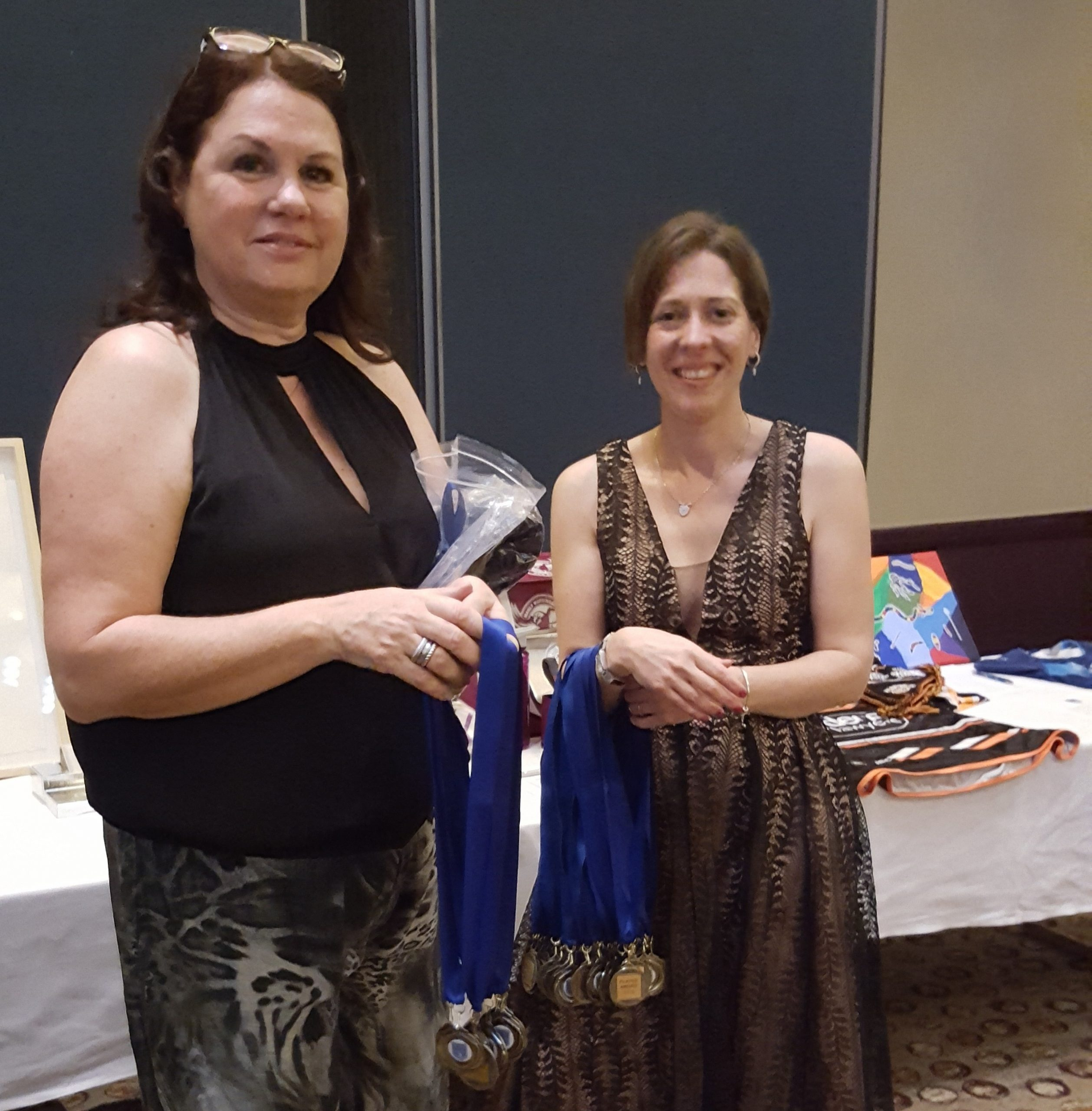 Presentation Night 2019 - Trish and Michelle handing out player medallions